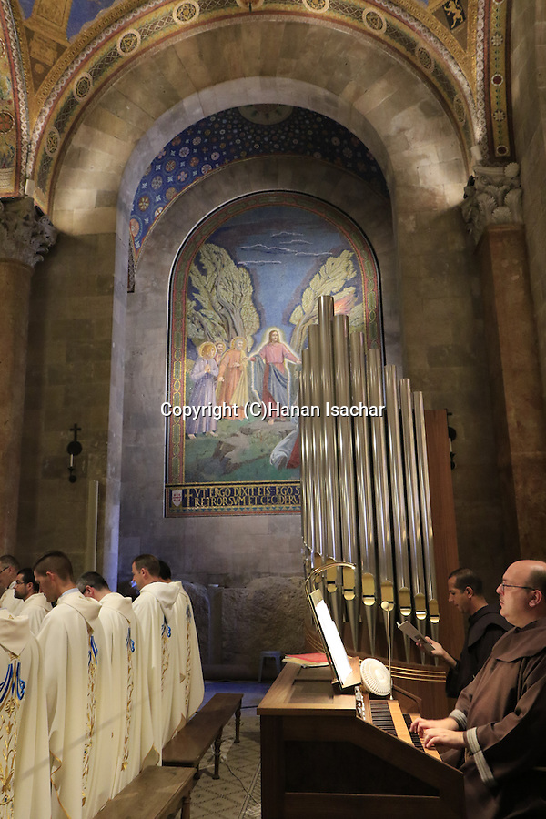 Israel, Jerusalem, Assumption Day at the Basilica of the Agony or the Church of all Nations at the Garden of Gethsemane