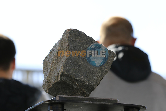 The winners trophy on dispaly at the Team Presentation for the upcoming 115th edition of the Paris-Roubaix 2017 race held in Compiegne, France. 8th April 2017.<br /> Picture: Eoin Clarke | Cyclefile<br /> <br /> <br /> All photos usage must carry mandatory copyright credit (&copy; Cyclefile | Eoin Clarke)