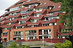 Tiered layers of apartment housing in Fantoft suburb, Bergen, Norway