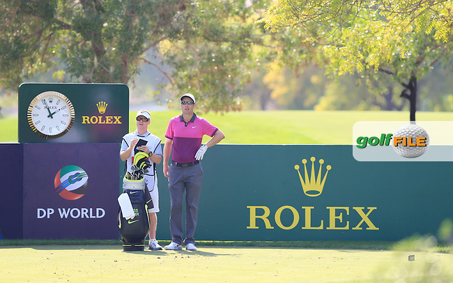 Ross Fisher (ENG) on the 13th tee during Round 1 of the DP World Tour Championship at the Earth course,  Jumeirah Golf Estates in Dubai, UAE,  19/11/2015.<br /> Picture: Golffile | Thos Caffrey<br /> <br /> All photo usage must carry mandatory copyright credit (&copy; Golffile | Thos Caffrey)