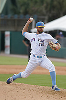 "Myrtle Beach Pelicans pitcher Josh Conway (11) on the mound during game one of a doubleheader against the Carolina Mudcats at Ticketreturn.com Field at Pelicans Ballpark on June 6, 2015 in Myrtle Beach, South Carolina. During the game the Pelicans wore special ""Let's Play Two"" uniforms as a tribute to the late Chicago Cubs Hall of Famer Ernie Banks, as they do during the first game of every home doubleheader during 2015. Carolina defeated Myrtle Beach 1-0. (Robert Gurganus/Four Seam Images)"