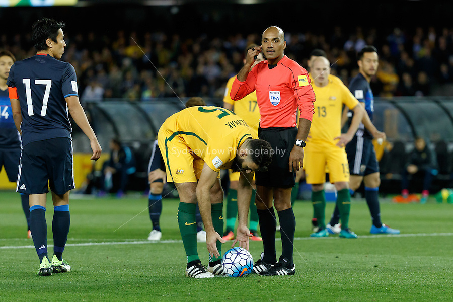 October 11, 2016: MILE JEDINAK (15) of Australia prepares to take a penalty kick during a 3rd round Group B World Cup 2018 qualification match between Australia and Japan at the Docklands Stadium in Melbourne, Australia. Photo Sydney Low Please visit zumapress.com for editorial licensing. *This image is NOT FOR SALE via this web site.