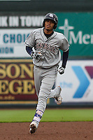 Colorado Springs Sky Sox shortstop Orlando Arcia (2) rounds the bases following a home run during a Pacific Coast League game against the Iowa Cubs on May 1st, 2016 at Principal Park in Des Moines, Iowa.  Colorado Springs defeated Iowa 4-3. (Brad Krause/Four Seam Images)