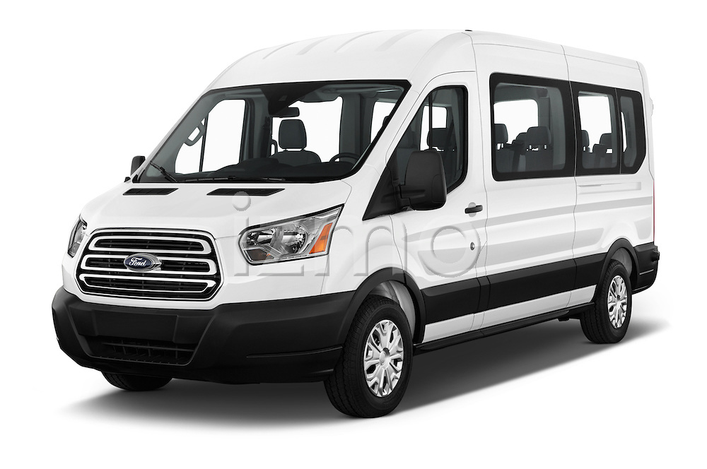 2016 Ford Transit 350-XLT-Med-Roof 4 Door Passenger Van Angular Front stock photos of front three quarter view