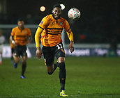 5th February 2019, Rodney Parade, Newport, Wales; FA Cup football, 4th round replay, Newport County versus Middlesbrough; Jamille Matt of Newport County chases the high ball