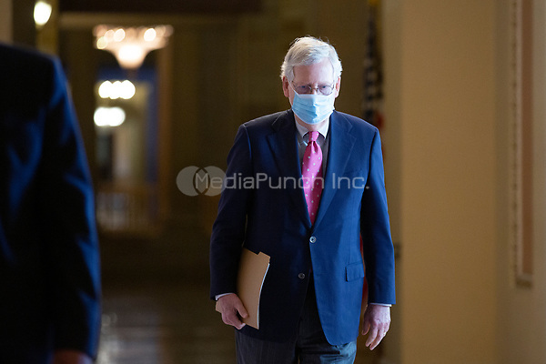 United States Senate Majority Leader Mitch McConnell (Republican of Kentucky) walks from his office to the Senate Floor at the United States Capitol in Washington D.C., U.S., on Monday, June 29, 2020.  Credit: Stefani Reynolds / CNP /MediaPunch