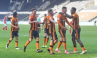 Hull City's Mallik Wilks is congratulated on scoring his team's opening goal<br /> <br /> Photographer Dave Howarth/CameraSport<br /> <br /> The EFL Sky Bet League One - Hull City v Crewe Alexandra - Saturday 19th September 2020 - KCOM Stadium - Kingston upon Hull<br /> <br /> World Copyright © 2020 CameraSport. All rights reserved. 43 Linden Ave. Countesthorpe. Leicester. England. LE8 5PG - Tel: +44 (0) 116 277 4147 - admin@camerasport.com - www.camerasport.com