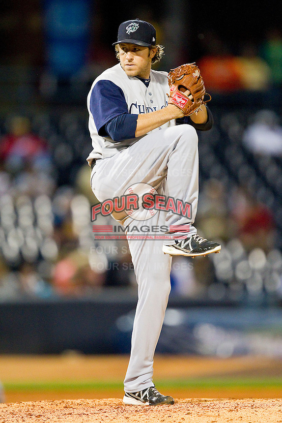 Charlotte Knights relief pitcher Daniel Moskos (14) in action against the Toledo Mudhens at 5/3 Field on May 3, 2013 in Toledo, Ohio.  The Knights defeated the Mudhens 10-2.  (Brian Westerholt/Four Seam Images)