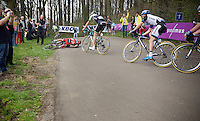 Greg Van Avermaet (BEL/BMC) crashing on the descent of the Kemmelberg<br /> <br /> Gent-Wevelgem 2014