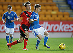 St Johnstone v Rangers...29.09.15   SPFL Development League  McDiarmid Park, Perth<br /> Cameron Lumsden fends off Ryan Hardie<br /> Picture by Graeme Hart.<br /> Copyright Perthshire Picture Agency<br /> Tel: 01738 623350  Mobile: 07990 594431