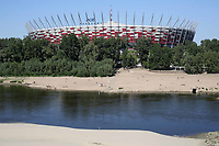 The PGE Narodowy or National Stadium of Poland. It's a retractable roof football stadium able to host other sporting events and concerts. Located in Warsaw with a capacity of 58,000 during a visit to the PGE National Stadium, Warsaw on 12th May 2018