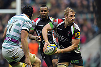 Chris Robshaw looks to pass the ball. Big Game 5 Aviva Premiership match, between Harlequins and London Irish on December 29, 2012 at Twickenham Stadium in London, England. Photo by: Patrick Khachfe / Onside Images