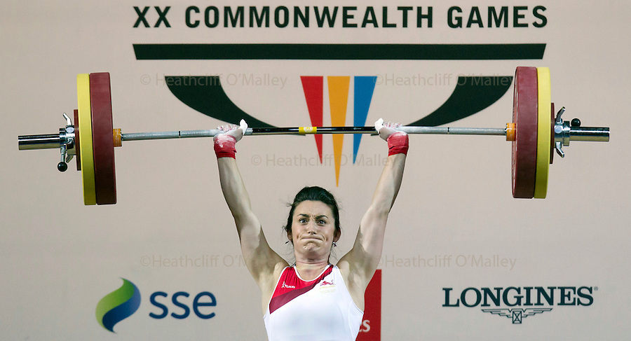 Mcc0055084 . Daily Telegraph<br /> <br /> Former Beauty Queen Sarah Davies failed to win a medal in the Women's weightlifting on day 4 of the 2014 Commonwealth Games in Glasgow .<br /> <br /> 27 July 2014