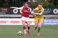 Danielle van de Donk of Arsenal and Ella Pusey of Yeovil during Arsenal Women vs Yeovil Town Ladies, FA Women's Super League FA WSL1 Football at Meadow Park on 11th February 2018