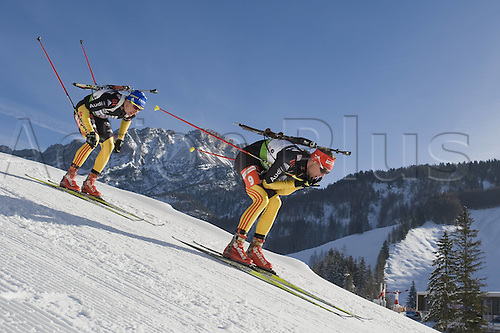 09.12.2011, Hochfilzen, Austria. The IBU Biathlon men's 10km Sprint, picture shows  Simon Schempp 9 and Andreas Birnbacher