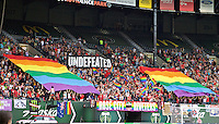 Portland, Oregon - Wednesday June 22, 2016: Thorns supporters tifo during a regular season National Women's Soccer League (NWSL) match at Providence Park.