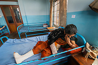 Nepal, Kathmandu, earthquake relief efforts. Nutritional Rehabilitation Home supported by Nepal Youth Foundation. This clinic usually assists with nutrition & new mothers but took in many survivors who were injured in the earthquake.