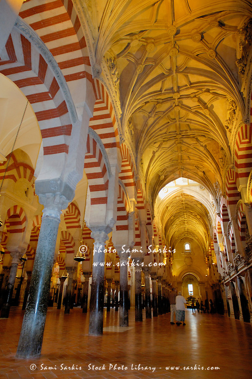 Ceilings inside the Catedral de Cordoba, a former medieval mosque, Cordoba, Andalusia, Spain.