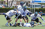Orange, CA 05/17/14 - Kyrn Stoddard (Grand Valley State #23), Isaac Hazen (Grand Valley State #33), Peter Treppa (Grand Valley State #11) and unidentified Grand Valley University player(s) in action during the 2014 MCLA Division II Men's Lacrosse Championship game between Grand Valley State University and St John University at Chapman University in Orange, California.  Grand Valley Defeated St John 12-11.