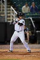 Jackson Generals catcher Oscar Hernandez (28) at bat during a game against the Chattanooga Lookouts on April 27, 2017 at The Ballpark at Jackson in Jackson, Tennessee.  Chattanooga defeated Jackson 5-4.  (Mike Janes/Four Seam Images)