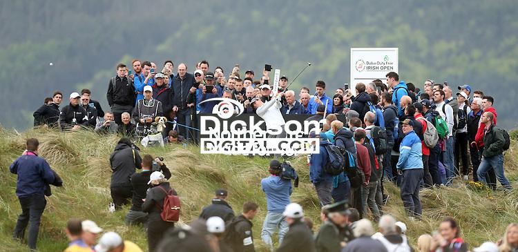 27 May 2015; Rory McIlroy tess off at the 2nd<br /> <br /> Dubai Duty Free Irish Open Golf Championship 2015, Pro-Am. Royal County Down Golf Club, Co. Down. Picture credit: John Dickson / DICKSONDIGITAL