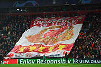 A general view of a giant Liverpool banner<br /> <br /> Photographer Richard Martin-Roberts/CameraSport<br /> <br /> UEFA Champions League Group C - Liverpool v Napoli - Tuesday 11th December 2018 - Anfield - Liverpool<br />  <br /> World Copyright © 2018 CameraSport. All rights reserved. 43 Linden Ave. Countesthorpe. Leicester. England. LE8 5PG - Tel: +44 (0) 116 277 4147 - admin@camerasport.com - www.camerasport.com
