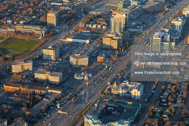 The Ste-Foy distric downtown in Quebec city is pictured in this aerial photo November 11, 2009. In this picture can be seen the Boulevard Laurier, the complexe Jules-Dallaire, Place Laurier Shopping mall, Tour Cominar tower, Place de La Cite, Complexe Delta and Place Ste-Foy.