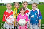 Learning their football skills at the Causeway GAA Cúl Camp last week. .L-R Kacey O'Carroll, Méabh Dalton, Davina O'Connor, Aoibhe Joy and Stacey Leahy.