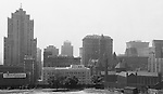 Pittsburgh PA:  View of downtown Pittsburgh from the bluff at Duquesne University - 1932.  View includes the relatively new Grant Building (1929) City County Building and Jail, Frick Building and Henry Oliver building.