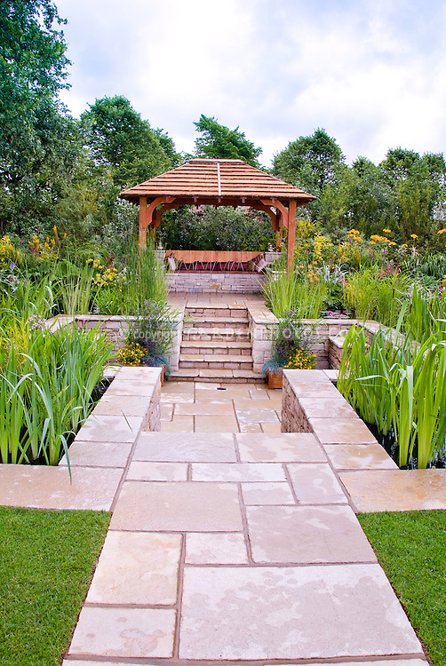 Sunken Patio Outdoor Room Landscaping, Stone Steps, Garden Gazebo And Bench  With Cushions,