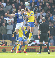 Leeds United's Kalvin Phillips jumps with Birmingham City's Gary Gardner <br /> <br /> Photographer Mick Walker/CameraSport<br /> <br /> The EFL Sky Bet Championship - Birmingham City v Leeds United - Saturday 6th April 2019 - St Andrew's - Birmingham<br /> <br /> World Copyright © 2019 CameraSport. All rights reserved. 43 Linden Ave. Countesthorpe. Leicester. England. LE8 5PG - Tel: +44 (0) 116 277 4147 - admin@camerasport.com - www.camerasport.com