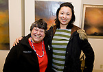 CHESHIRE, CT-011218JS13---Breina Schaim of Waterbury an Liping Peng of Cheshire, at the grand opening of The Voice of Art Gallery and Studio in Cheshire. <br /> Jim Shannon Republican-American
