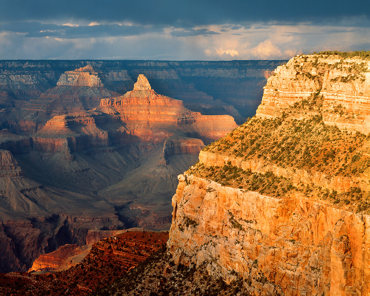 Sunset light on the Grand Canyon as viewed from Hopi Point on the South Rim; Grand Canyon National Park, AZ