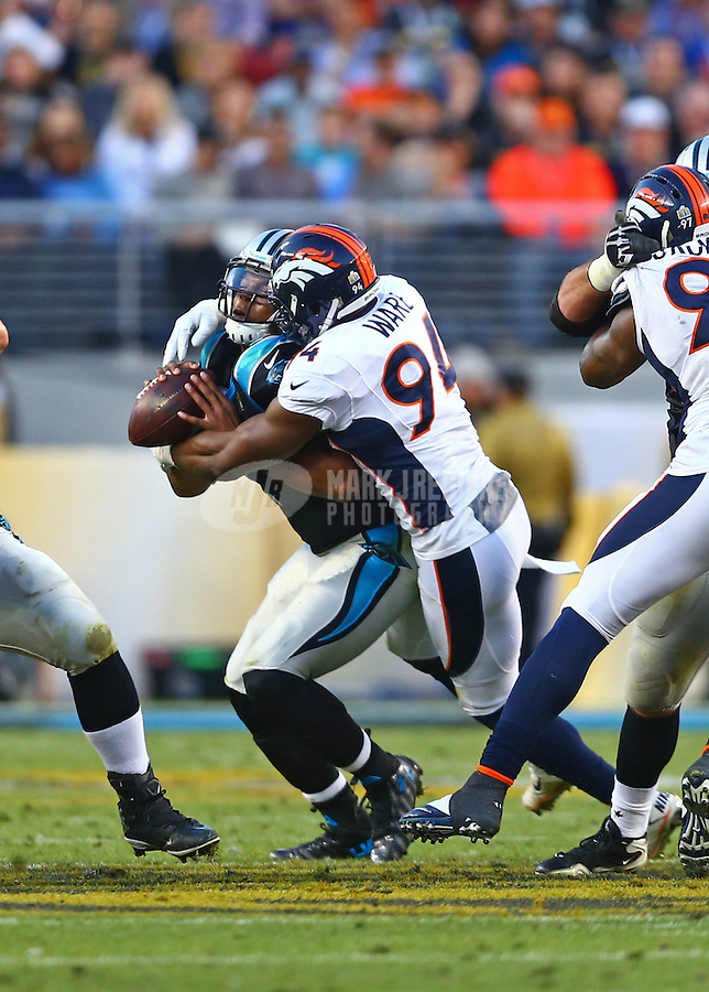 Feb 7, 2016; Santa Clara, CA, USA; Denver Broncos defensive end DeMarcus Ware (94) sacks Carolina Panthers quarterback Cam Newton (1) in Super Bowl 50 at Levi's Stadium. Mandatory Credit: Mark J. Rebilas-USA TODAY Sports