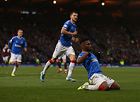 3rd November 2019; Hampden Park, Glasgow, Scotland; Scottish League Cup Football, Rangers versus Heart of Midlothian; Alfredo Morelos of Rangers celebrates after he makes it 3-0 to Rangers in the 62nd minute