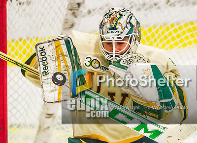 16 November 2013: University of Vermont Catamount Goaltender Mike Santaguida, a Freshman from Mississauga, Ontario, makes a third prior save against the Providence College Friars at Gutterson Fieldhouse in Burlington, Vermont. The Friars shut out the Catamounts to sweep the 2-game weekend Hockey East Series. Mandatory Credit: Ed Wolfstein Photo *** RAW (NEF) Image File Available ***