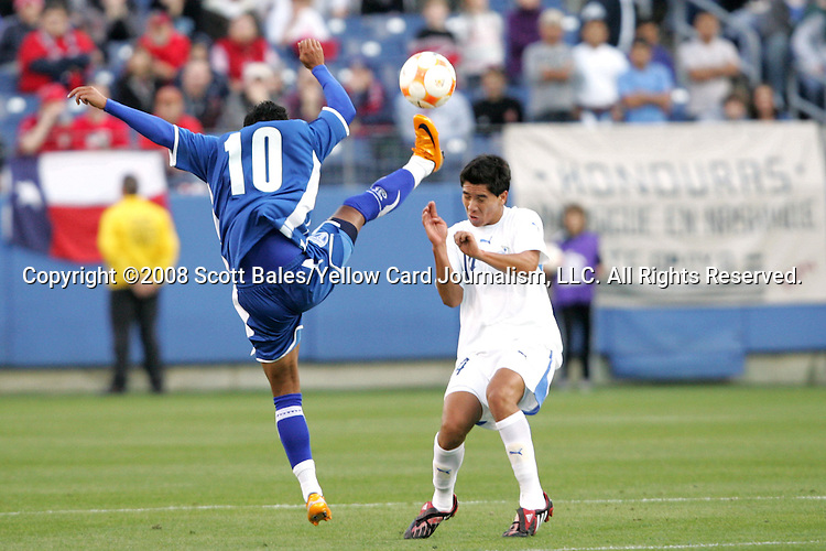 20 March 2008: Ramon Nunez (HON) (10) stretches to kick the ball away from Rafael Morales (GUA) (14). The Honduras U-23 Men's National Team defeated the Guatemala U-23 Men's National Team 6-5 on penalty kicks after a 0-0 overtime tie at LP Field in Nashville,TN in a semifinal game during the 2008 CONCACAF Men's Olympic Qualifying Tournament. With the penalty kick victory, Honduras qualifies for the 2008 Beijing Olympics.