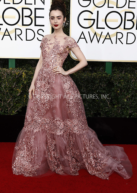 www.acepixs.com<br /> <br /> January 8 2017, LA<br /> <br /> Lily Collins arriving at the 74th Annual Golden Globe Awards at the Beverly Hilton Hotel on January 8, 2017 in Beverly Hills, California.<br /> <br /> By Line: Famous/ACE Pictures<br /> <br /> <br /> ACE Pictures Inc<br /> Tel: 6467670430<br /> Email: info@acepixs.com<br /> www.acepixs.com
