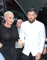 NEW YORK, NY-September 07: Amber Rose, Maksim Chmerkovskiy at The Stars of Dancing with Stars Season 23 Press Junket  at Planet Hollywood Time Square in New York. NY September 07, 2016. Credit:RW/MediaPunch