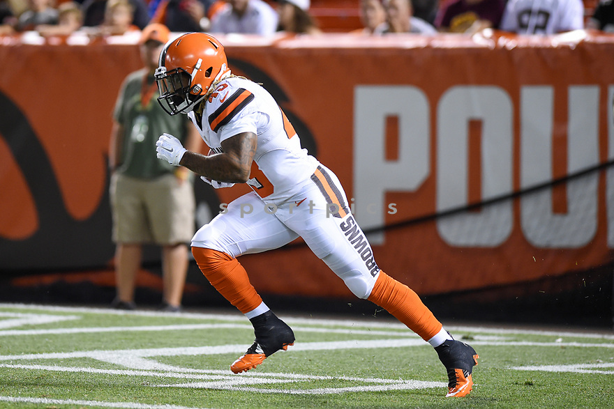 CLEVELAND, OH - AUGUST 18, 2016: Running back Rajion Neal #43 of the Cleveland Browns returns a kickoff in the third quarter of a preseason game on August 18, 2016 against the Atlanta Falcons at FirstEnergy Stadium in Cleveland, Ohio. Atlanta won 24-13. (Photo by: 2016 Nick Cammett/Diamond Images) *** Local Caption *** Rajion Neal
