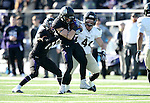 SIOUX FALLS, SD, NOVEMBER 26:  Josh Angulo #8 from the University of Sioux Falls wrestles the ball from Daylan Skidmore #44 from Harding University Saturday afternoon at Bob Young Field in Sioux Falls. (Photo by Dave Eggen/Inertia)