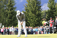 Tyrrell Hatton (ENG) putts on the 15th green during Sunday's Final Round of the 2017 Omega European Masters held at Golf Club Crans-Sur-Sierre, Crans Montana, Switzerland. 10th September 2017.<br /> Picture: Eoin Clarke | Golffile<br /> <br /> <br /> All photos usage must carry mandatory copyright credit (&copy; Golffile | Eoin Clarke)