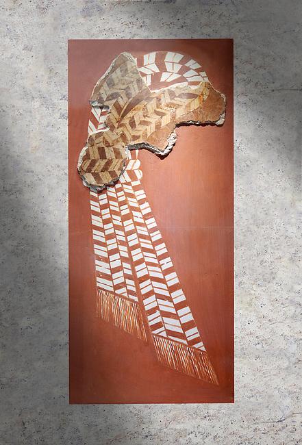 "Minoan 'Sacred Knot"" fresco wall art depicting the religious apotropaic symbol, Nirou Chani 1600-1450 BC . Heraklion Archaeological Museum."