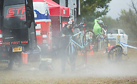 NWA Democrat-Gazette/BEN GOFF @NWABENGOFF<br /> Mechanics clean bikes between races Sunday, Oct. 6, 2019, during the the Fayettecross cyclocross races at Centennial Park at Millsap Mountain in Fayetteville.