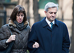 Chris Huhne and Carina Trimmingham, his partner,  arrive at Southwark Crown Court today 4.2.13..She and her former husband MP Chris Huhne are charged with perverting the course of justice....Vasiliki Pryce, née Courmouzis, is an economist, and former Joint Head of the United Kingdom's Government Economic Service......Pic by Gavin Rodgers/Pixel 8000 Ltd