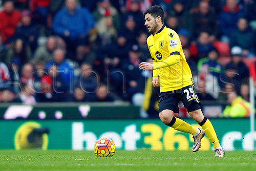 27.02.2016. Britannia Stadium, Stoke, England. Barclays Premier League. Stoke City versus Aston Villa. Carles Gil of Aston Villa runs with the ball