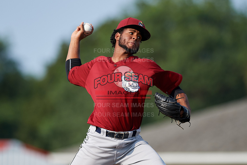 Mahoning Valley Scrappers starting pitcher Gregori Vasquez (47) delivers a pitch during the first game of a doubleheader against the Batavia Muckdogs on August 28, 2017 at Dwyer Stadium in Batavia, New York.  Mahoning Valley defeated Batavia 6-3.  (Mike Janes/Four Seam Images)