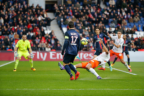 05.03.2016. Paris, France. French League 1 football. Paris St Germain versus Montpellier.  Maxwell Scherrer Cabelino Andrade (psg), Kevin BERIGAUD (Montpellier), Laurent PIONNIER (Montpellier), Edinson Roberto Paulo Cavani Gomez (psg)