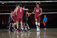 STANFORD, CA - March 3, 2018: JP Reilly, Jaylen Jasper at Maples Pavilion. The Stanford Cardinal lost to Pepperdine, 3-0.