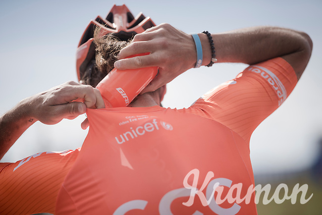 bidon stacking by Guillaume VAN KEIRSBULCK (BEL/CCC)<br /> <br /> 13th Strade Bianche 2019 (1.UWT)<br /> One day race from Siena to Siena (184km)<br /> <br /> ©kramon